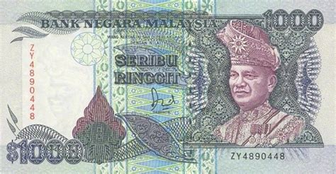 currency myr 1000 malaysian ringgit 2nd series 1989 exchange yours