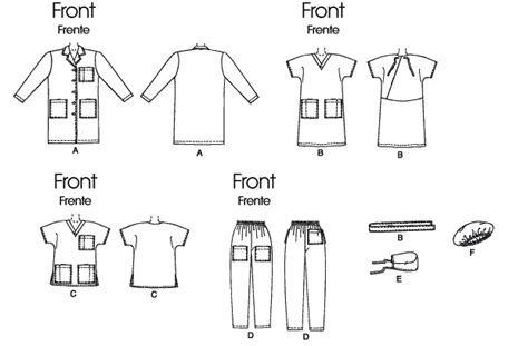free sewing pattern lab coat mccalls misses men s lab coat scrubs hats and tie belt