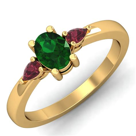 emerald ring design certified solid gold festive
