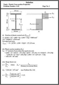 problems plastic crosssection properties structural analysis