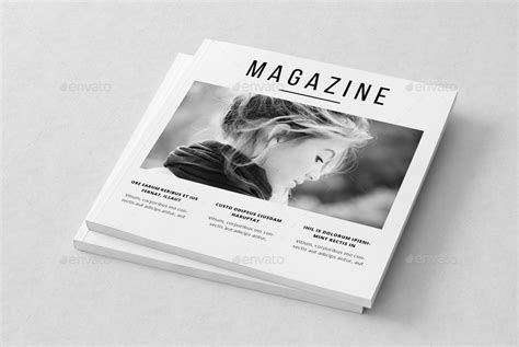 Minimal Square Magazine Template By Uloel Graphicriver Zine Magazine Template