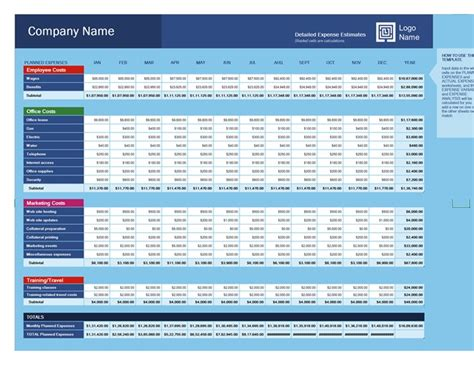 Business Expense Budget Excel Business Expense Template