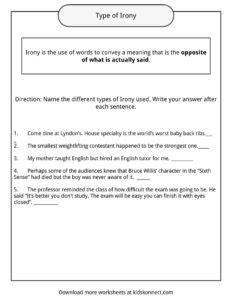 Irony Worksheets by Irony Worksheets Photos Dropwin