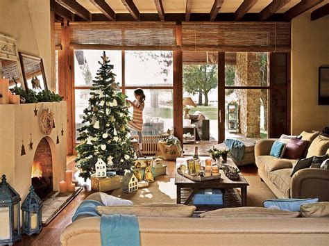 decorated home spanish country house adorned with natural christmas