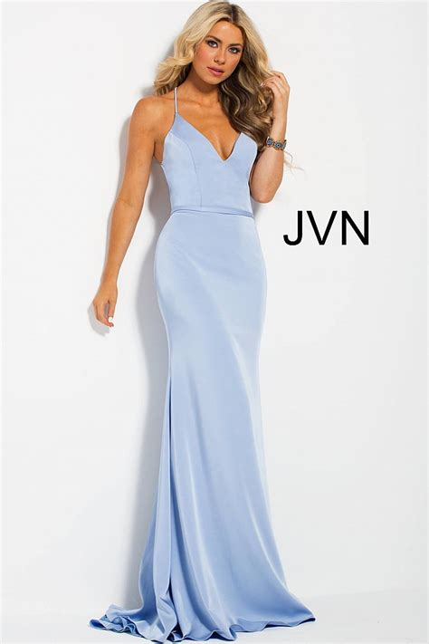 light blue spaghetti prom dress light blue fitted spaghetti straps criss cross back