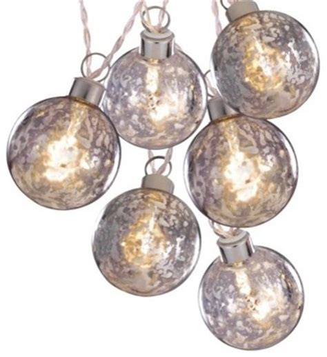 clear battery operated silver glass ball string lights