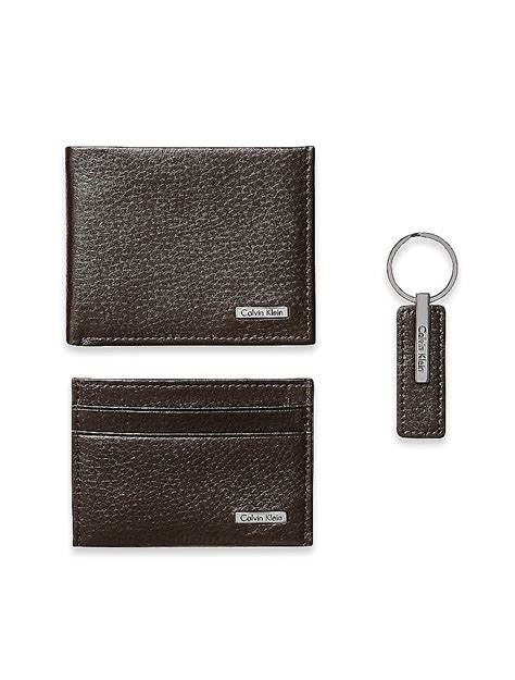Branded Calvin Klein Embossed Leather Wallet Gck09 Original Usa calvin klein mens pebble leather wallet keychain 3 set brown ebay