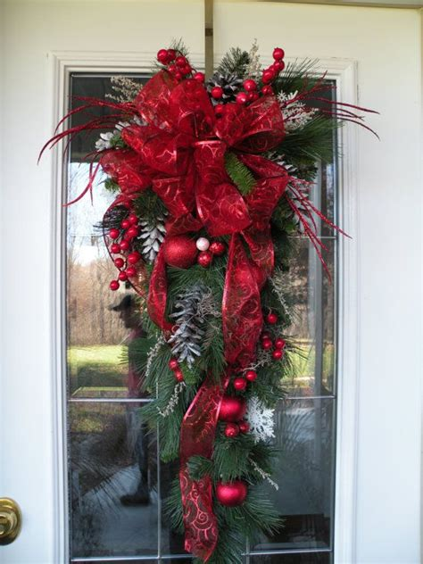 christmas door swag christmas teardrop swag red