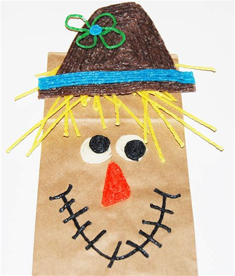 Scarecrow Paper Bag Craft - harvest themed paper bag scarecrow crafts for
