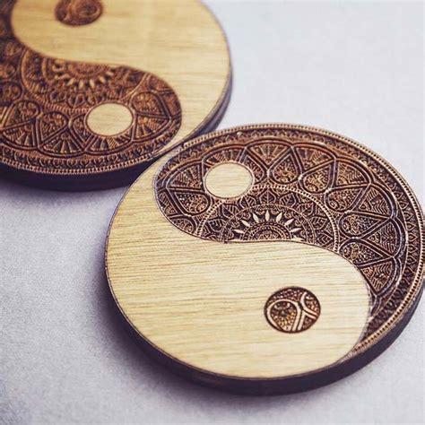Handmade Wooden Set - handmade yin yang wooden coaster set gadgetsin