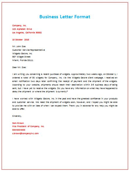 business letter writing for ibm business letter format about shipment pcs