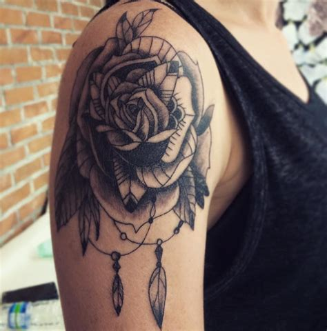 dreamcatcher with roses tattoo tattoos done in bali line tattoos roses