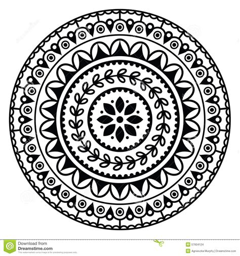 black and white round pattern mandala indian inspired round geometric pattern stock