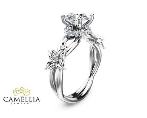 flower design engagement ring in 14k white gold