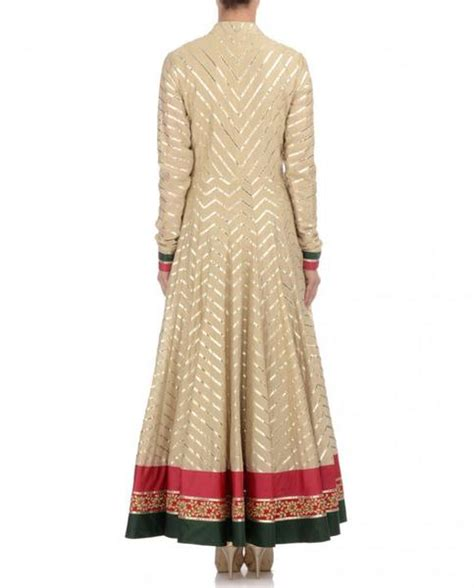 pista green color long anarkali suit panache haute couture beige color long anarkali suit panache haute couture