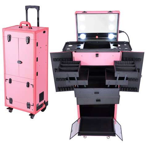 hair and makeup travel case rolling studio makeup multifunction case w lights mirror