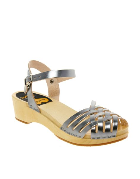 silver low wedge sandals swedish hasbeens braided silver low wedge sandals in
