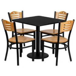 Restaurant Dining Tables And Chairs 30 Quot Square Black Laminate Table Set With 4 Wood Slat Back