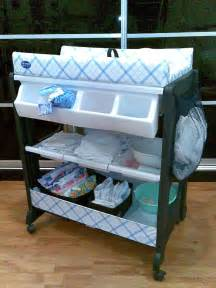 Baby Change And Bath Table Portable Baby Changing Table With Wheels And Attached Storage Plus White Changing Tray Plus