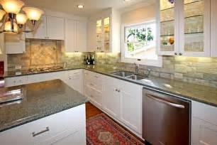 Backsplash For White Kitchen Cabinets White Painted Cabinets With Quartzite Kitchen Backsplash