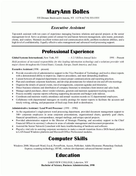 sle resumes administrative assistant resume or executive assistant resume