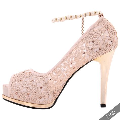 high heels with pearls womens lace gem high heels peep toe shoes pearl ankle