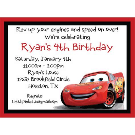 printable birthday invitations cars cars lightning mcqueen birthday invitation bryan bday