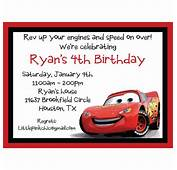 Cars Lightning McQueen Birthday Invitation  Bryan Bday