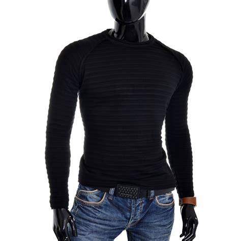 mens knit pullover s knitted ribbed pullover fitness jumper crew neck