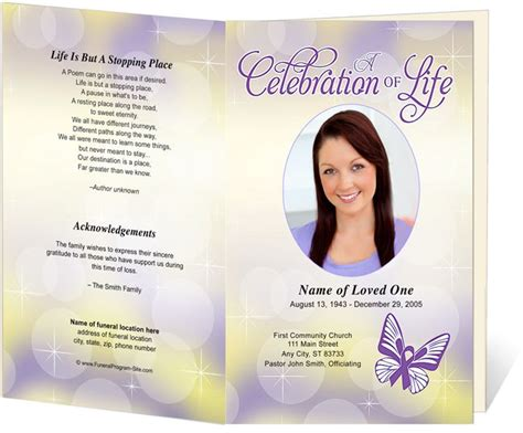 funeral memorial order of service programs lupus