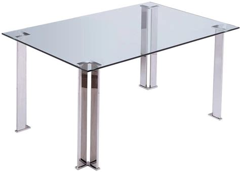 plume rectangular table with stainless steel legs modern