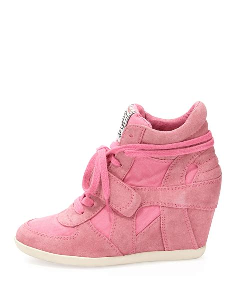 pink wedge sneakers ash bowie suede and canvas wedge sneaker shocking pink in