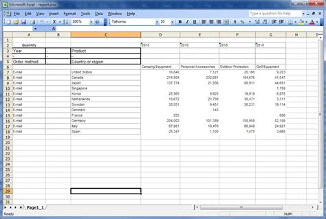 report layout excel 2007 option to group repeating cells in reports produced in