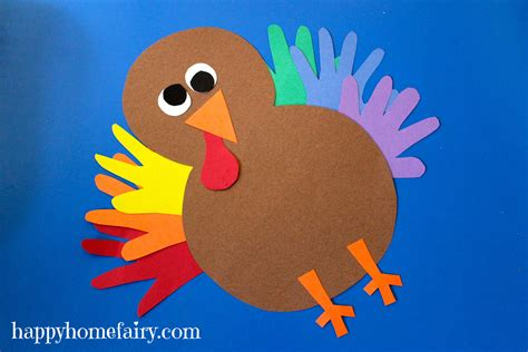 Paper Turkeys - thankful handprint turkey craft free printable happy