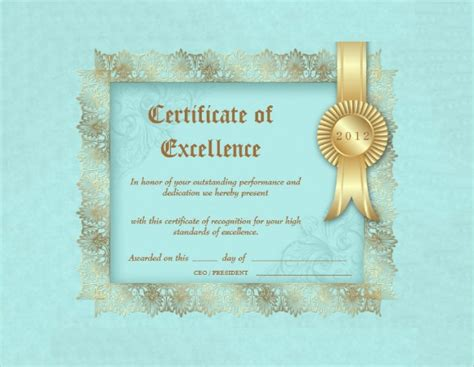 certificate of excellence templates certificate of excellence template sle exle format