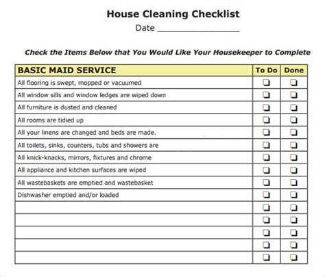 house cleaning checklist 9 free sles exles format