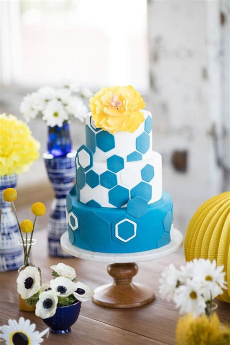 modern navy  yellow bridal shower pretty  party