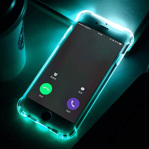 Iphone 5 5s Se Aru Back Soft Glow In The phone back fundas for iphone 7 plus 5 5s se 6 6s cover anti knock soft tpu led flash light
