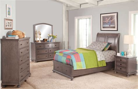allegra youth pewter youth sleigh storage bedroom set from