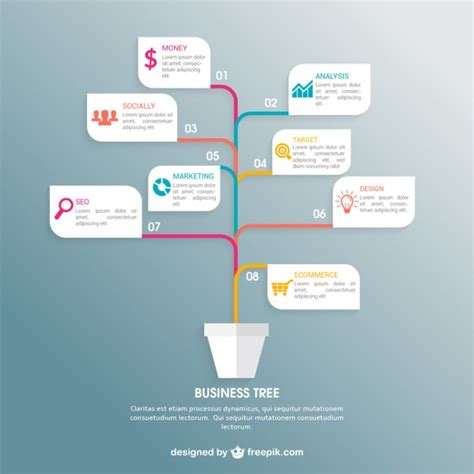 Business Tree Infographic Vector Free Download Family Tree Template Info Graphics
