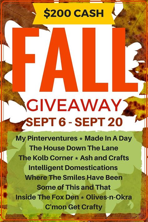 Fall Giveaway - let s kickoff fall with a 200 giveaway