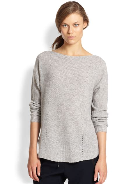 vince boatneck pullover cashmere sweater lyst vince ribbed cashmere relaxed boatneck sweater in gray
