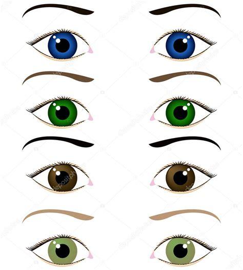 imagenes de ojos bonitos animados juego de ojos de dibujos animados vector de stock