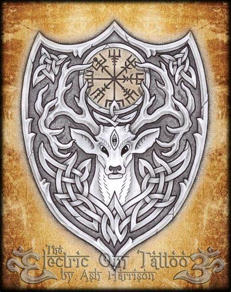 viking art tattoo designs tattoos celtic norse knotwork stag spirit n vegvisir by