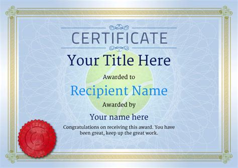 tennis certificate template free free tennis certificate templates add printable badges