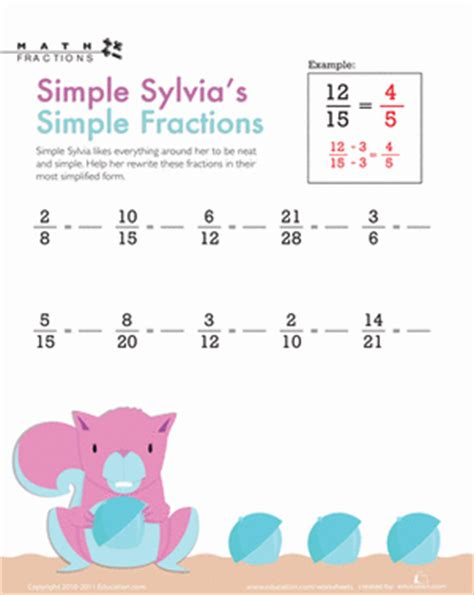 fractions in simplest form worksheet 4th grade simple fractions with sylvia worksheet education