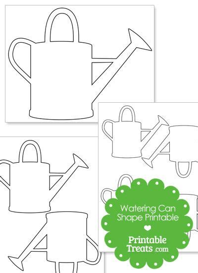 Printable Watering Can Shape From Printabletreats Com Shapes And Templates Printables Paper Water Template