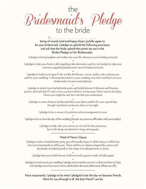 The Bridesmaid?s Pledge to the Bride   09.26.15