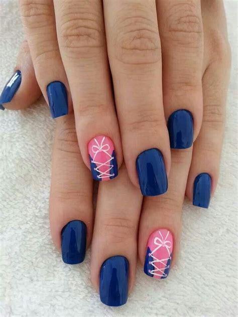easy nail art blue and pink royal blue pink white corset nail design nails