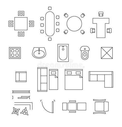 store layout design definition furniture linear vector symbols floor plan icons stock